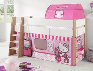 Hochbett SAM 2 Kinderbett Spielbett halbhohes Bett Buche Weiß Stoff Hello Kitty, Matratze:mit