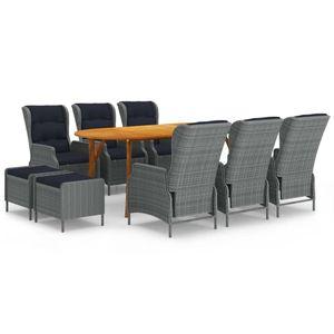 Neues- 9-tlg. Garten-Essgruppe|Bistroset|Sitzgruppe für 8 Personen Gartenmöbel-Set mit Tisch,8 Sessel, Hellgrau🌹6835