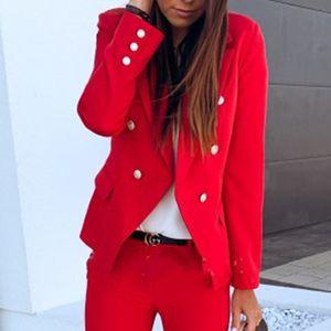 ydance Damenmode Zweireihiger Kleiner Anzug Mit Metallschnalle,Farbe: Rot,Größe:L