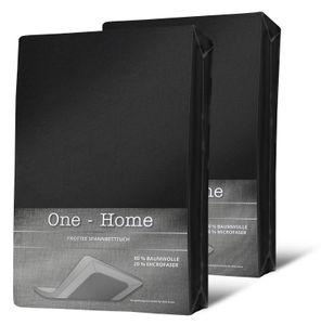 2er Pack Spannbettlaken FROTTEE 90x200 cm - 100x200 cm schwarz Spannbetttuch Set