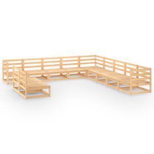 NEU 11-tlg. Garten-Lounge-Set Gartenmöbel Sitzgruppe Balkonmöbel wetterfest Massivholz Kiefer