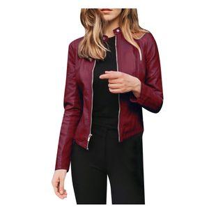 Frauen Damen Revers Motor Jacke Mantel Zip Biker Short Punk Cropped Tops Größe:XXL,Farbe:Kupfer