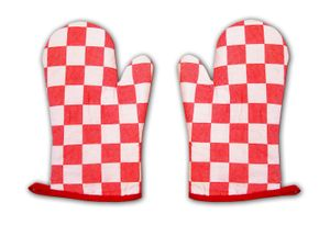 TOPFHANDSCHUHE 1 Paar Karo Grillhandschuh Küchenhandschuh Ofenhandschuh 11 (Rot)
