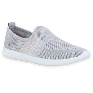 Mytrendshoe Damen Sportschuhe Slip On Sneaker Fitness Turnschuhe Strick Schuhe 833934, Farbe: Hellgrau, Größe: 38