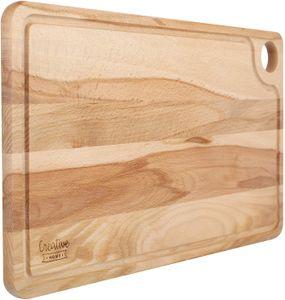 Großes Holz Schneidebrett mit Saftrille   42 x 24,5 x 1,5 cm   Frühstückbrett