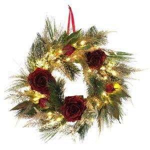 Türkranz, Weihnachtskranz mit 50 warmweißen LED, Lichterkette und Timer - Batteriebetrieben - Adventskranz - Rote Rosen