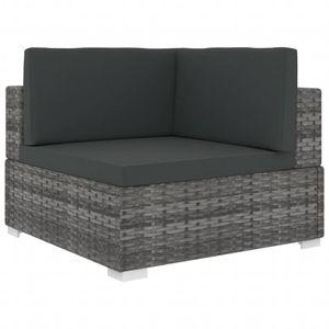 vidaXL Modular-Sofa-Eckteil 1 Stk. + Auflagen Poly Rattan Grau