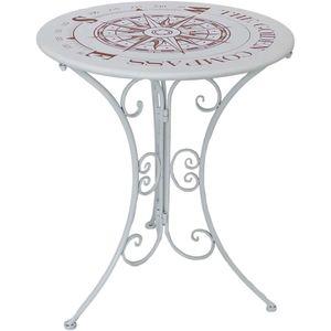 Bistrotisch, Kompass-Design, Eisen, weiß, D 60 cm, BAYO