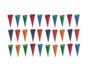 30 Deko Schultüten / Länge: 12,5cm / 6 verschiedene Farben