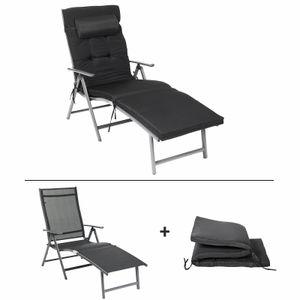 SONGMICS 183 x 60 x 97 cm Sonnenliege mit 6 cm Dicker Matratze Kissen klappbar aus rostfreiem Alu atmungsaktiv verstellbar bis 150 kg belastbar Liegestuhl schwarz GCB24BK