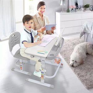 70cm Kinderschreibtisch Schreibtisch mit Stuhl Schublade und Leseständer Kinder Schülerschreibtisch ergenomisch höhenverstellbar Kindertisch Grau