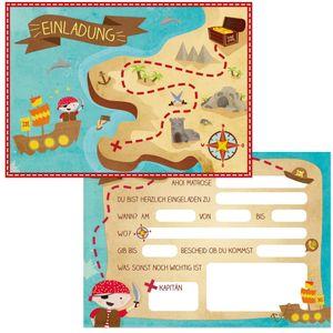 Oblique Unique 6 Einladungskarten Kindergeburtstag Piraten Party Einladungen