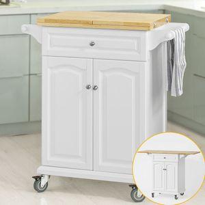 SoBuy® Servierwagen, Küchenwagen,mit klappbare/erweiterbarer Arbeitsfläche, FKW36-WN