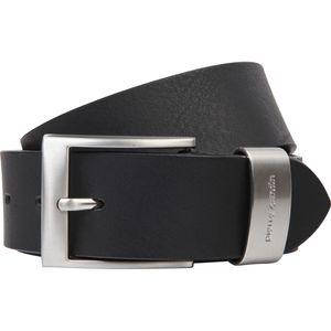Pierre Cardin Vollbüffel 4mm Echt Leder-Gürtel Herren / Vollleder-Gürtel Herren, Jeansgürtel XXL mit Metallschlaufe, Größe / Size:100, Farbe / Color:schwarz
