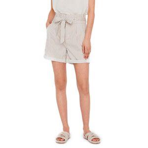 Vero Moda Eva Paperbag Cot Ps Snow White / Stripes Silver Mink L