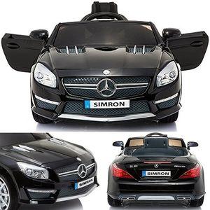 Mercedes-Benz AMG SL63-Coupe Cabriolet mit 2x Motoren 12V Elektro Kinderauto elektrisch Kinder Elektroauto mit Fernbedienung, öffnenden Türen und Softstart (Schwarz)