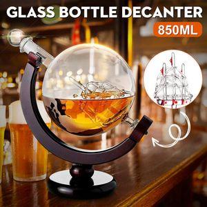 850ml Glas Wein Dekanter Whisky Karaffe Whiskey Dekanter Glaskaraffe Globus Form