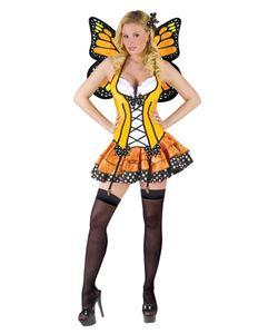 Sexy Schmetterling Kostüm mit Flügeln gelb Damen Größe: M / 38