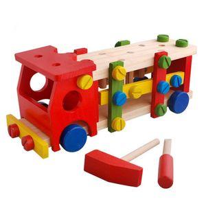 Spielauto aus Holz, Schraubauto, Konstruktionsspielzeug mit Werkzeug, 46 Teile,  Holzblockspiel