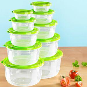 20 tlg Frischhaltedosen 10 Schüsseln 10 Größen im Set Deckel Grün Transparent Dose Küchenbehälter Kunststoffbehälter Lebensmittelbehälter