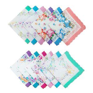 12 Damentaschentücher Baumwolltuch Quadratisches Einstecktuch Geschenkset 30x30cm