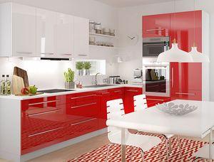 Küchenzeile Küchenblock L-Form 270 x 210 cm grau / rosenrot + weiß Hochglanz