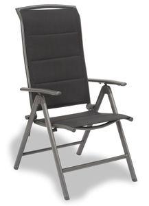BRUBAKER Gartenstuhl Milano - Hochlehner Stuhl klappbar - 8-fach verstellbare Rückenlehne - Klappstuhl Aluminium - Wetterfest - Silbergrau