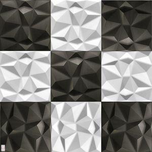 3D Wandpaneele Wandverkleidung Deckenpaneele Platten Paneele Diamant Weiß - Schwarz Mix!Polystyrol XPS (1qm)