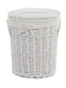 Wäschekorb Weide Weiß Oval mit Bezug Deckel Handgriffe 37x26 H.48