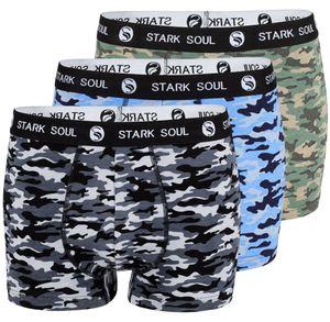 Stark Soul® Boxershorts 3'er Pack, Camouflage Schwarz/Blau/Grün XL