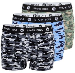 Stark Soul® Boxershorts 3'er Pack, Camouflage Schwarz/Blau/Grün L