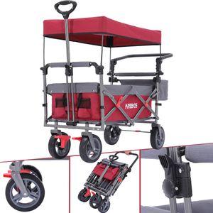AREBOS Premium Bollerwagen mit Dach Klappbar Faltbar Handwagen Gartenwagen Rot