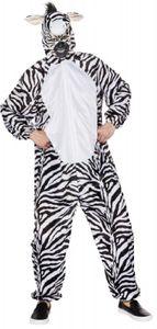 O7256-48-52 weiß-schwarz Damen Herren Zebra Kostüm Overall Gr.48-52