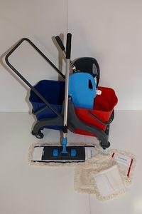 CleanSV® Wischset PE 40  - Reinigungswagen PE mit Presse, MopSet 40 cm: 3 Baumwollmop, Halter, Telskopstiehl