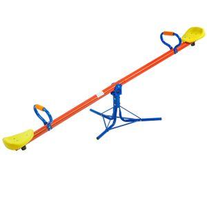 SPIELWERK Wippe für Kinder bis 70kg 360° drehbar Haltegriffe mit Polster Wippe Wippschaukel Gartenschaukel Kinderschaukel 200x67x70cm