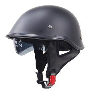 Jethelm Motorrad-Helm Rollerhelm Motorradhelm Roller Helm Farrad Helm Halbschale mit Nylon-Halteband für Damen, Herren Größe XL