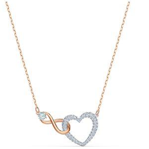 Swarovski Halskette 5518865/5604531 Infinity Heart, weiss, Metallmix