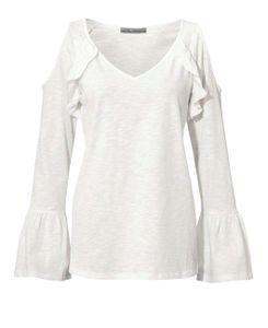 ashley brooke Damen Langarmshirt schulterfrei mit Rüschen Weiß, Größe:42