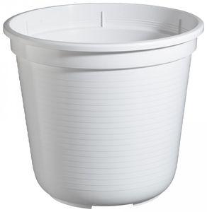 5er Set Pflanzkübel Blumentopf Standard 40 cm rund aus Kunststoff Sparpaket, Farbe:weiß