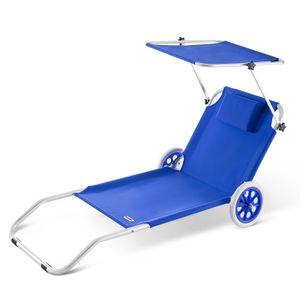 Alu Sonnenliege Kreta mit Dach klappbar 2 Räder Strandliege Gartenliege Strandrolli Liege Farbauswahl, Farbe:blau