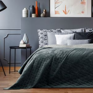 Bettüberwurf Laila - Luxus Tagesdecke mit Wendedesign, Farbe:Graphite / Silver, Größe:240 x 260 cm
