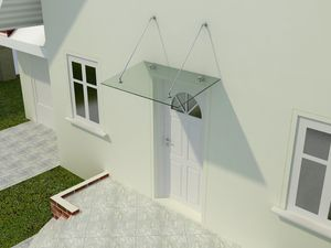 Glas Vordach Olymp 90 cm tief, Größe:150 x 90 cm, Glasart:Klarglas