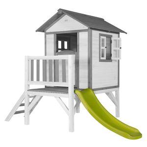 AXI Spielhaus Beach Lodge XL in Weiß mit hellgrüner Rutsche | Stelzenhaus ausHolz für Kinder | Kleiner Spielturm für den Garten