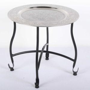 Casa Moro Orientalischer Teetisch Safi D40 | Beistelltisch mit Silbertablett & klappbarem Gestell in schwarz | TA7068