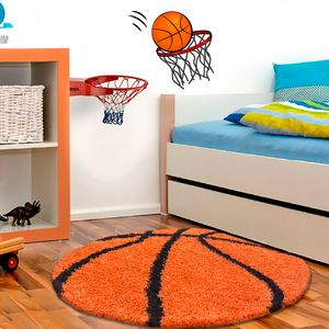 Kinderteppich,Kinderzimmerteppich,Bälle Fußball Basketball,Rund,TERRA, Maße:120 cm x 120 cm Rund