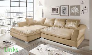Big Sofa Kunstleder Leder Ecksofa Beige LINKS Bigsofa verschiedene Farben