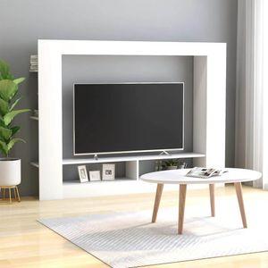 Wohnzimmer Anbauwand Wohnwand, Wohnwände, Wohnschränke, 152x22x113cm in Weiß mit viel Stauraum