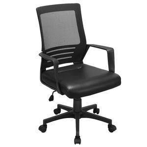 Yaheetech 360° Drehstuhl für's Büro oder Home-Office, Kunstleder Schreibtischstuhl, Ergonomischer Computerstuhl, Chefstuhl mit Netzrückenlehne, Bürodrehstuhl Wippfunktion, Schwarz