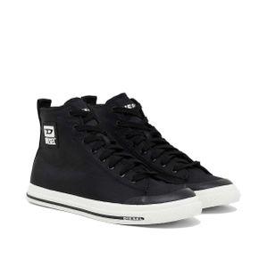 DIESEL Herren High Sneaker - S-Astico Mid Cut, High Tops, Leder Schwarz 41 EU