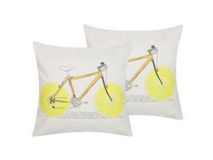 Dekokissen Weiß / Gelb 45 x 45 cm 2er Set aus Baumwolle mit Fahrradmotiv/gelben Rädern Salon Schlafzimmer Wohnzimmer Quadratisch Modernes Design
